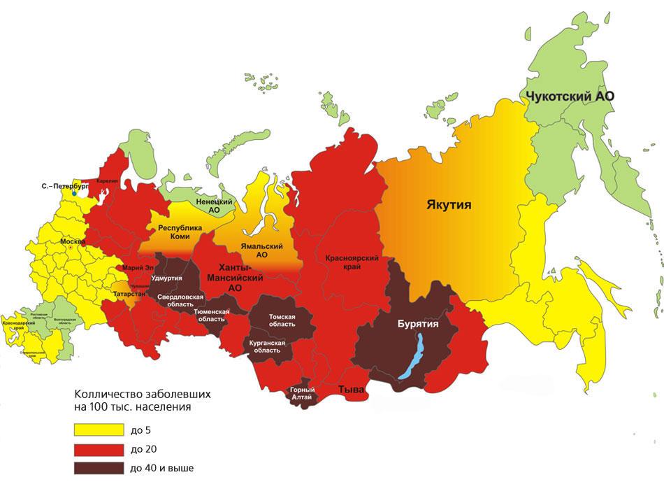 Карта обитания клещей